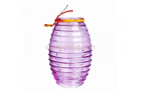 Ваза для цветов стеклянная  90-002 «Лайт» прозрачная крш. сиреневая