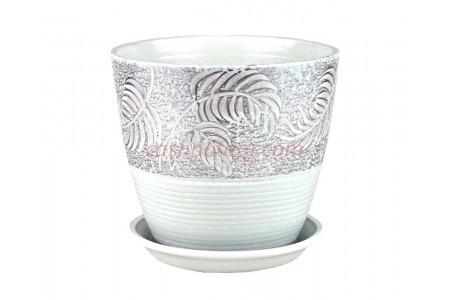 Горшок для цветов керамический с поддоном Бутон Палеолит сер.12см (РС107/1)