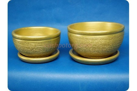 Комплект из 2-х горшков из керамики с поддонами «Фиалка металлик зеленый»