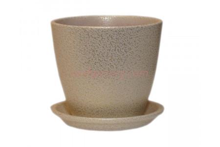Горшок для цветов керамический с поддоном Бутон Глянец мет.бел/зол 10см (ГЛ 07/0)