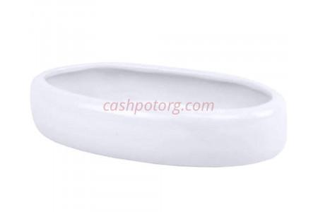 Кашпо керамическое без поддона и дренажного отверстия Бонсай 2 овал (бел) 26к