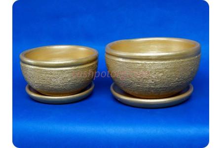 Комплект из 2-х горшков из керамики с поддонами «Фиалка металлик золото»