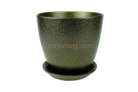 Горшок для цветов керамический с поддоном Бутон Глянец мет.чер/зол 12см (ГЛ 11/1)