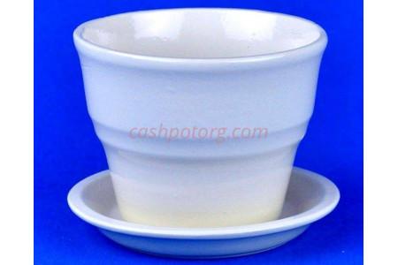 Горшок для цветов керамический с поддоном Колибри Глянец беж.10,5см ГЛ806/1