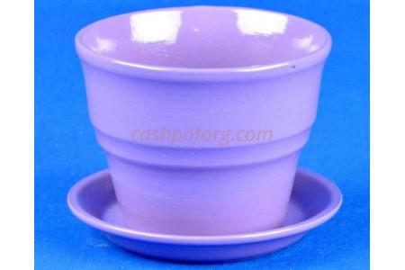 Горшок для цветов керамический с поддоном Колибри Глянец сирен.10,5см ГЛ805/1