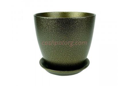 Горшок для цветов керамический с поддоном Бутон глянец мет.чер/зол 10см (ГЛ 11/0)