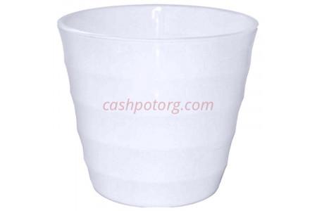 Горшок для цветов пластиковый Лаура с под. 3,7л  (бел-бел) ЛР2010