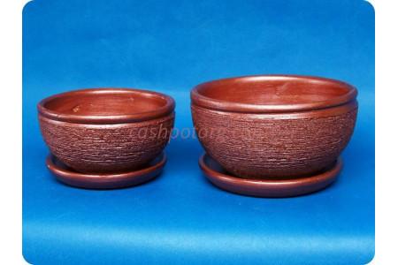 Комплект из 2-х горшков из керамики с поддонами «Фиалка металлик гранат»