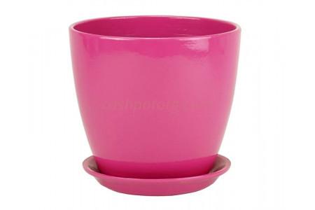 Горшок для цветов керамический с поддоном Бутон Глянец розовый 10см ГЛ 04/0