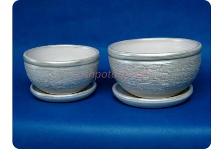 Комплект из 2-х горшков из керамики с поддонами «Фиалка металлик серебро»