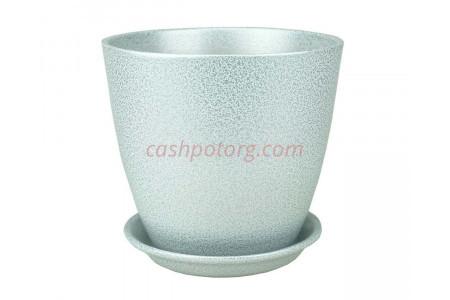 Горшок для цветов керамический с поддоном Бутон Глянец мет.бел/сер 12см (ГЛ 08/1)