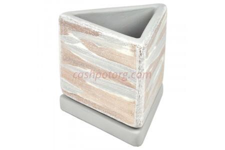 Горшок для цветов керамический с поддоном ДВ-светл Треугольник d10/h10см (NK01/30)