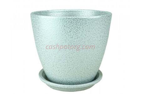 Горшок для цветов керамический с поддоном Бутон Глянец мет.бел/сер 10см (ГЛ 08/0)