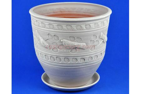 Горшок для цветов керамический с поддоном Птицы бел.3  75-326  5-26