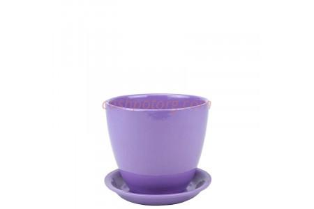 Горшок для цветов керамический с поддоном Бутон Глянец сирен. 10см (ГЛ 05/0)