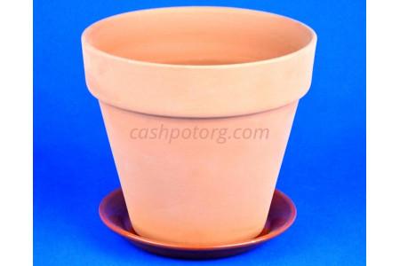 Горшок для цветов керамический с поддоном Конус 16см терракотовый ТР201/2