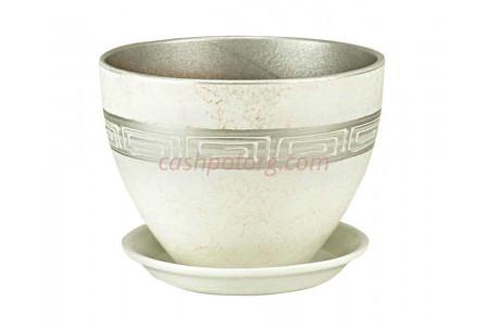 Горшок для цветов керамический с поддоном Венеция Меандр 13см (РС312/1)