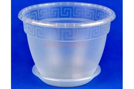 Горшок для цветов пластиковый с поддоном Антик с под.17 (прозр)