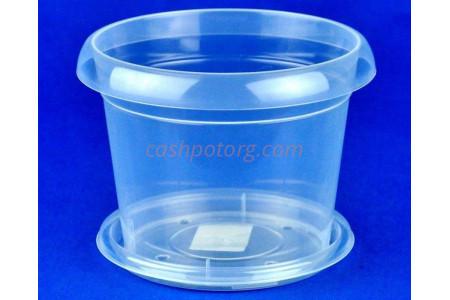 Горшок пластиковый для орхидей 0,8л прозрачное с поддоном м5554