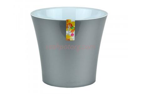 Кашпо пластиковое двойное без поддона и дренажного отверстия АРТЕ  5л (металлик-белый) э 422