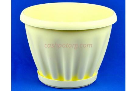Горшок для цветов пластиковый Знатный с под.11л (жел) 602