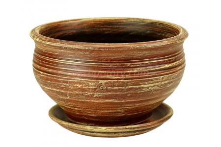 Горшок для цветов керамический с поддоном «Фиалочница №2 коричневый» 3-09 32-209