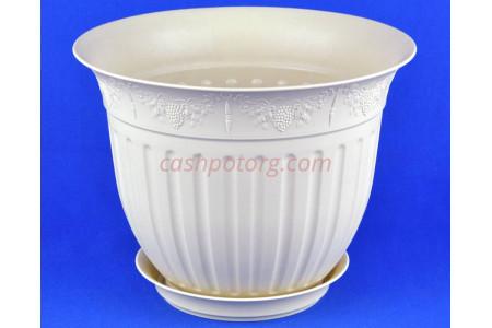 Горшок для цветов пластиковый с поддоном Виноград 30 (крем)