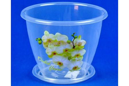 Горшок для цветов пластиковый Флора с под. 2л (орхидея) м3063Ж